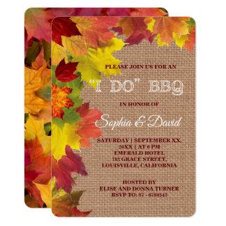 Charme-rustikaler Herbstlaub, den Leinwand ICH Karte