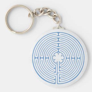 Chartres-Labyrinth-Blau Schlüsselanhänger