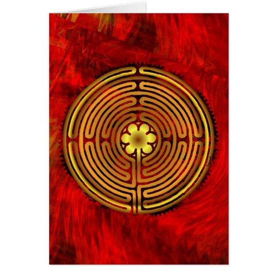 Chartres-Labyrinth-Feuer-Gruß-Karte Grußkarte