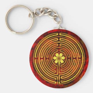 Chartres-Labyrinth-Feuer Keychain Standard Runder Schlüsselanhänger