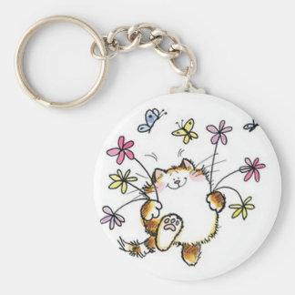 Chat avec tu fleuris porte-clefs