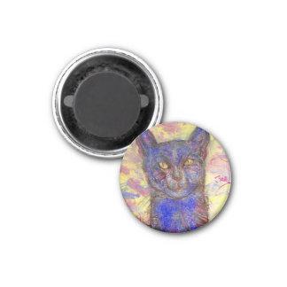 chat bleu frais magnet carré 2,50 cm