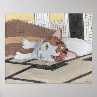Chat de calicot peint sur la toile poster