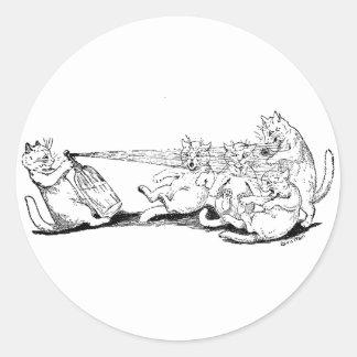Chat d'espiègle avec le siphon de soude adhésifs ronds