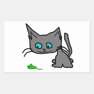 Chat espiègle de Kitty Autocollant Rectangulaire