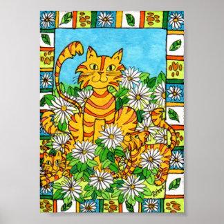Chat et chatons de mère en art populaire de