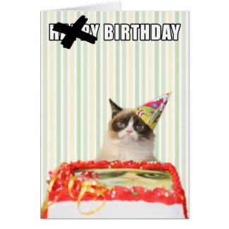 Chat grincheux - carte de joyeux anniversaire