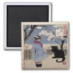 Chat noir avec Madame japonaise Magnet Carré