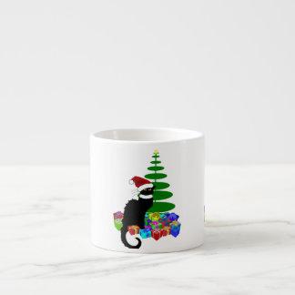 Chat Noir mit Weihnachtsbaum und Geschenken Espressotasse