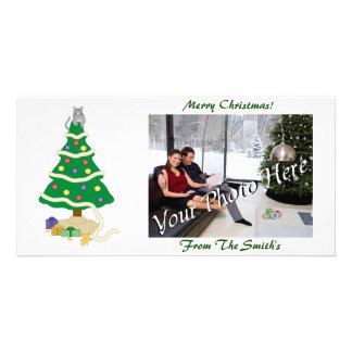 Chat vilain de Kitty d'arbre de Noël Modèle Pour Photocarte