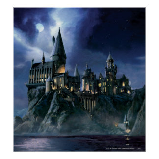 Château de Hogwarts la nuit Affiche