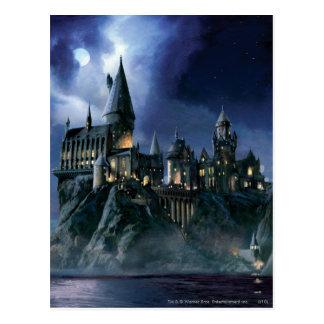 Château   Hogwarts éclairé par la lune de Harry Carte Postale