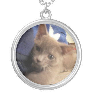 chaton espiègle pendentif rond