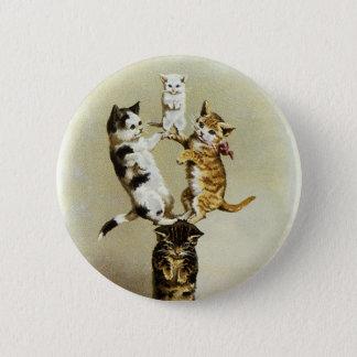 Chatons victoriens vintages mignons de chats badge rond 5 cm