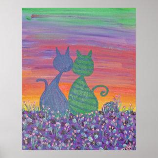 Chats de l'impression deux de toile dans les tulip affiche