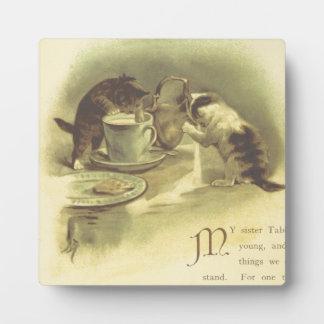 Chats espiègles photo sur plaque