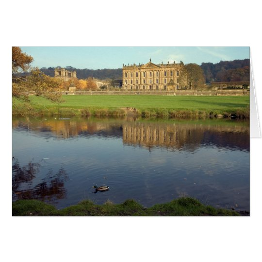Chatsworth Haus in Derbyshire, England Grußkarte