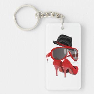Chaussures et verres rouges de casquette de dames porte-clé  rectangulaire en acrylique une face