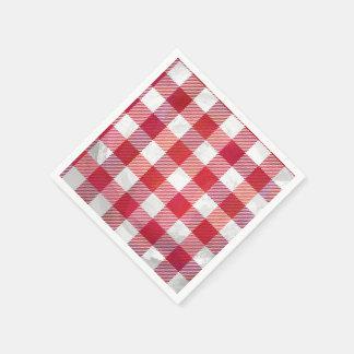 Checkered kariertes Rotes und weiß Papierserviette