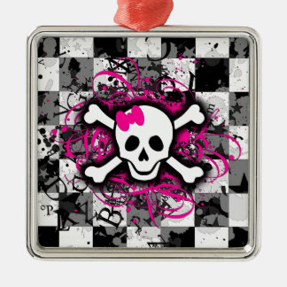 Checkered Schädel mit heißes Rosa-Spritzer Quadratisches Silberfarbenes Ornament