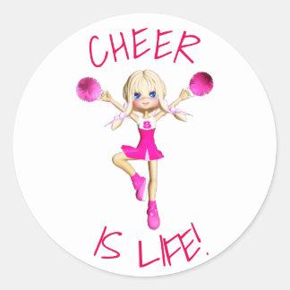 Cheerleader im Pink-Beifall ist Leben Runder Aufkleber