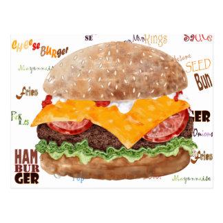 Cheeseburger GRILLEN Schnellimbiss-Restaurant Postkarte