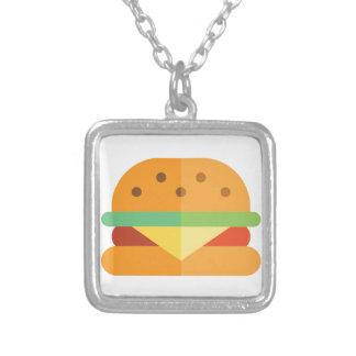Cheeseburger-lustige Halskette Mit Quadratischem Anhänger