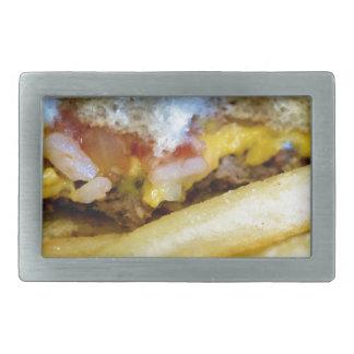 Cheeseburger und Fischrogen Rechteckige Gürtelschnalle