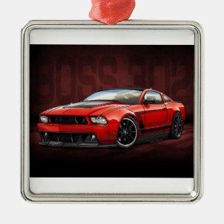 Chef 302 des Rot-2012 Quadratisches Silberfarbenes Ornament