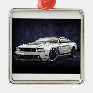 Chef 302 des Weiß-2012 Quadratisches Silberfarbenes Ornament