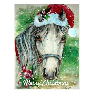 Cheval de Joyeux Noël avec la carte postale de cha