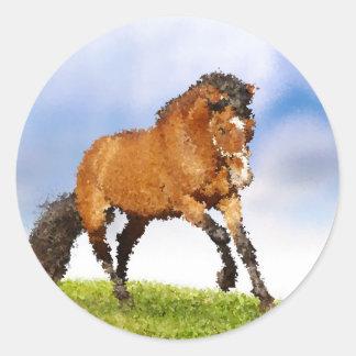 Cheval espiègle sticker rond