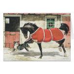 Cheval vintage et chien de Joyeux Noël Cartes De Vœux