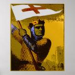 Chevalier avec le drapeau affiche