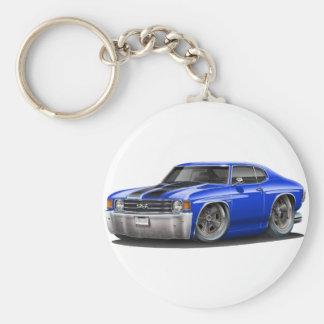Chevelle Blau-Schwarzes Auto 1971-72 Schlüsselanhänger