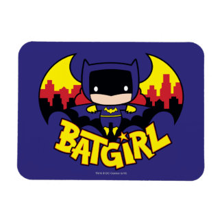 Chibi Batgirl mit Gotham Skylinen u. Logo Magnete