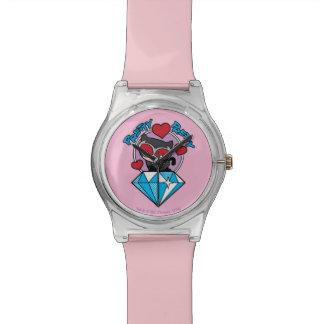 Chibi Catwoman, der auf großem Diamanten sitzt Armbanduhr