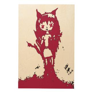 Chibi Dämon auf Holz durch Reddawolf Holzdruck