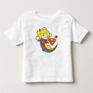 Chibi Supergirl Fliegen-Regenbogen Kleinkind T-shirt