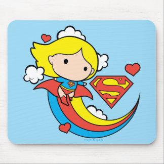 Chibi Supergirl Fliegen-Regenbogen Mousepads