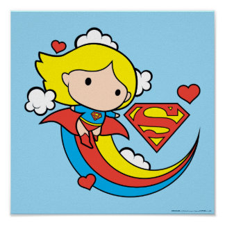 Chibi Supergirl Fliegen-Regenbogen Poster