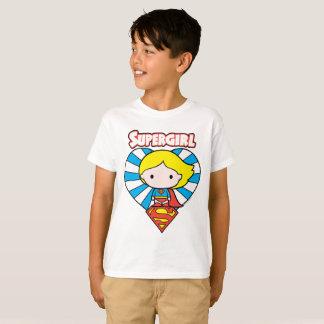 Chibi Supergirl Sternexplosion-Herz und Logo T-Shirt