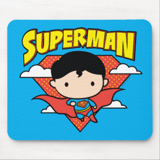 Chibi Supermann-Tupfen-Schild und Name Mousepads