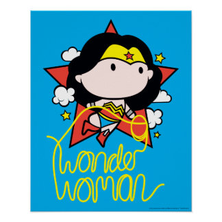 Chibi Wunder-Frauen-Fliegen mit Lasso Poster