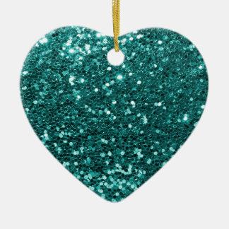 Chic-aquamariner Imitat-Glitzer Keramik Ornament