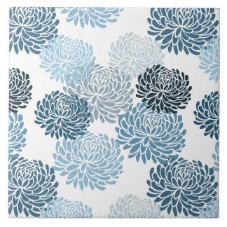 Chic-Blau-Blumen Große Quadratische Fliese