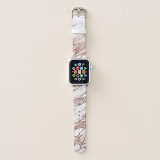 Chic-elegantes Weiß-und Rosen-Goldmarmor-Muster Apple Watch Armband