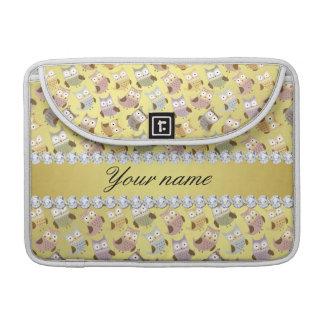 Chic-Eulen-Imitat-Goldfolie Bling Diamanten Sleeve Für MacBook Pro