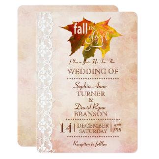 Chic-Fall in Liebe-romantische Hochzeit laden ein Karte