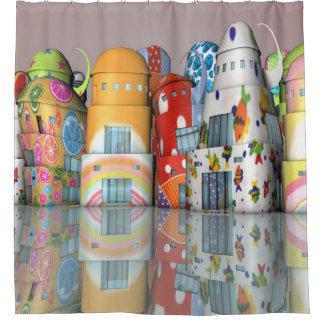 Chic-glückliche Gebäude Duschvorhang